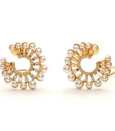 Anvi's polki pearl earrings with white stones shop online