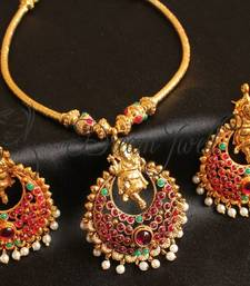 Buy GORGEOUS REAL KEMP GANESHA BALI PENDANT UNIQUE NECKLACE SET WITH MATCHING EARRINGS necklace-set online