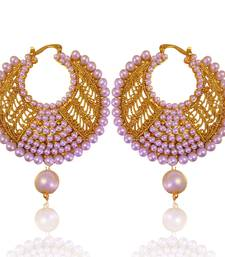 Fabulous white golden pearl polki bali earrings with jali work by adiva absat0cb00105 TDS 8 shop online