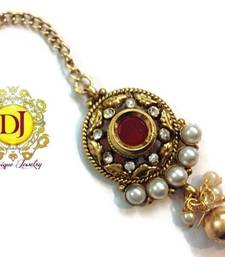 Red n golden Ad n pearl maang tikka shop online