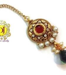 Red n dark green Ad n pearl maang tikka shop online