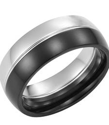 Buy Cara sterling silver and  certified Swarovski stone Silver and Black Ring for Men gifts-for-him online