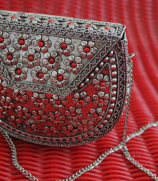 Buy Antique Silver with Red Flowers Sling Clutch sling-bag online