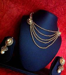 Buy Three layers of golden stones with pearls necklace set j41w Necklace online