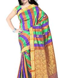 Traditional Checkered Chettinad Art Silk Saree PS402 shop online