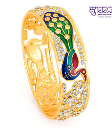 Buy Diwali Dicount Offers Sukkhi Meenakari gold plated Peacock AD Kada bangles-and-bracelet online