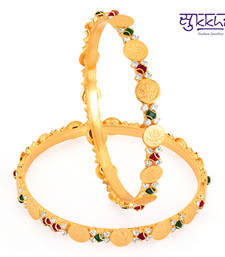 Buy Sukkhi Gold Plated lord lakshmi Multi color stone bangels bangles-and-bracelet online