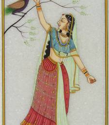 Buy eCraftIndia Ragini with Peacock Marble Painting painting online
