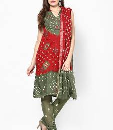 Buy Beautiful Red Green Cotton Bandhej Dress Material dress-material online