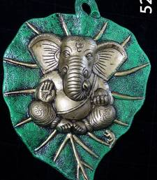 Buy Ganesha Green on A Leaf. XL. Silver coated Muhenera presents athish collection - 524  housewarming-gift online