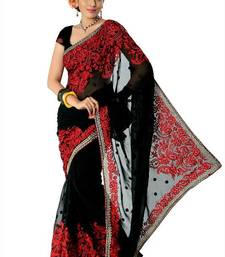 Buy Black faux georgette saree with unstitched blouse (nlm1379) georgette-saree online