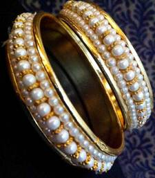 Buy Pair of Pearl Golden Bangles Bracelet o28 bangles-and-bracelet online