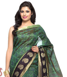Buy Natural Green Printed Silk saree with Zari border gifts-for-mom online