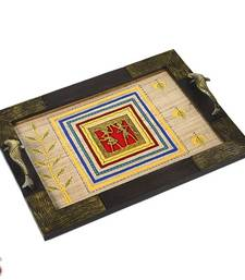 Buy Hand painted Wooden Tray with Dhokra work gifts-for-mom online