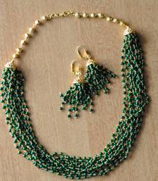 Buy Layered Jade Green Mala & Earring - 12 Line necklace-set online