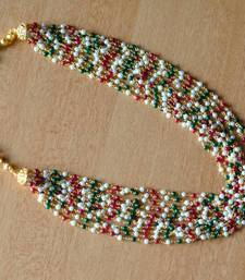 Buy Layered Red, Green & Pearl Mala & Earring - 12 Line necklace-set online