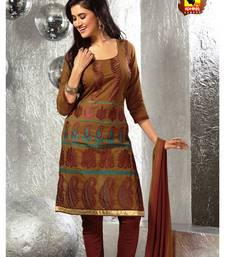 Buy Poshak-Marvellous cotton unstitched suit in mustard dress-material online