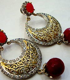 Buy ANTIQUE VICTORIAN RED PEARLS CHAND BALI danglers-drop online