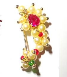 Buy Nath SMALL Clip type Maharashtrian traditional Nose ring of Pearl beads nose-ring online