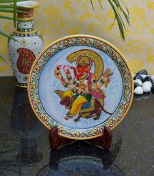 Buy eCraftIndia Decorative Marble Plate with Lord Ganesha on Rat decorative-plate online