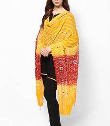 Buy Red Yellow Cotton Bandhej Dupatta stole-and-dupatta online