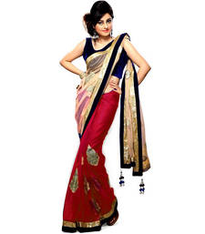Buy Cream and Red Hand work stone Bollywood Net and Chiffone saree chiffon-saree online