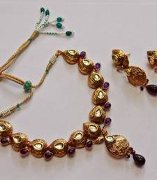 Buy Purple Color Teardrop Kundan Stone Neacklace Set  necklace-set online