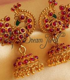 Buy BEAUTIFUL ANTIQUE PEACOCK KEMP EARRINGS jhumka online