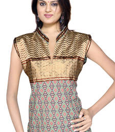 Buy Ethnic Girls Resham Zari Work Brown Cotton Top 138 kurtas-and-kurti online