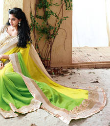Buy Vishal Yellow Green Chiffon Designer Sarees Holiday33217 bollywood-saree online