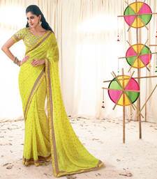 Buy Vishal Yellow Georgette Designer Sarees Holiday33227 bollywood-saree online