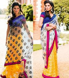 Buy Strollay Saree with Un-Stitched Blouse tissue-saree online