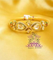 Buy Pear Shaped Zircon & Kundan Openable Bracelet bangles-and-bracelet online
