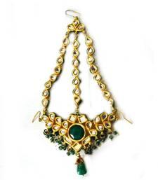Buy Kundan Green Jhumar maang-tikka online