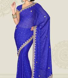 Buy Weeding Royal Blue Color Satin Chiffon Party Wear Saree with Blouse chiffon-saree online