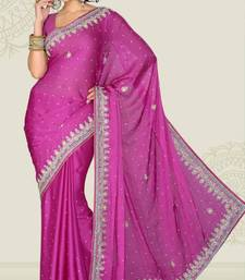Buy Weeding Magenta Color Satin Chiffon Party Wear Saree with Blouse chiffon-saree online
