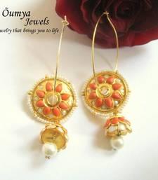 Buy Orange Chakra with Jhumki drop Earrings hoop online