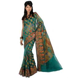 Organza cotton fancy banarasi saree shop online