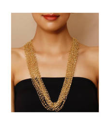 Buy Gold beaded multistrand necklace Necklace online