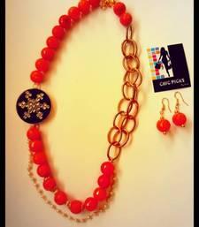 Buy Black kundan pendant -Orange Onyx Designer Necklace with Earrings Necklace online