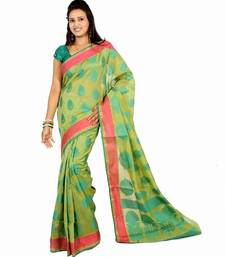 Buy Chanderi Cotton Banarasi Contrast Border Saree chanderi-saree online