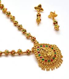 Buy Anvi's droplet shaped lakshmi pendent(temple jewellery) and earrings with gundla mala Pendant online