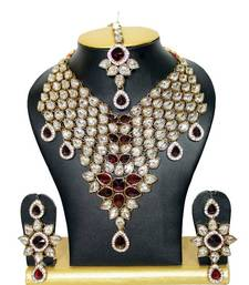 Buy Feathers Close Neck Jewelry Necklace Set in Maroon bridal-set online