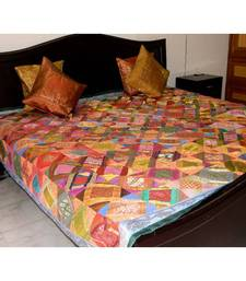 Buy Brocade Square Pattern Bed Set- Green Border housewarming-gift online