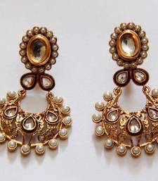 Buy Oval Polki Pearl Earrings - Pearl danglers-drop online