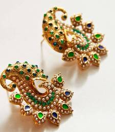 Buy Paisely Halfmoon Studded Earrings - Green & Navy Blue danglers-drop online