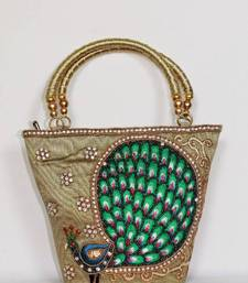 Buy Peacock Design Embroidery Handbag in Light Mehndi Green clutch online