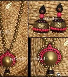 Buy Terracotta set with big jumkas necklace-set online