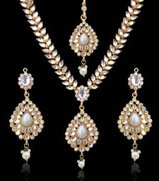 Buy Sparkling Tear Drop with Kundan Leaves Pearl Indian Ethnic Necklace Set d7w necklace-set online