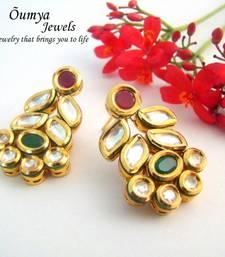 Buy Kundan Leaf earrings(Green,Red) stud online
